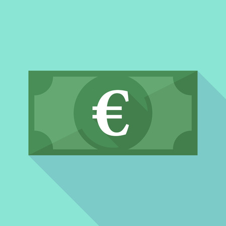 Illustration of a long shadow banknote icon with an euro sign
