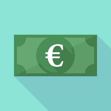 efectivo: Ilustración de un icono de billetes larga sombra con un símbolo del euro Vectores