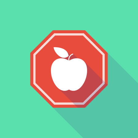 stop signal: Illustration of a long shadow stop signal with an apple Illustration