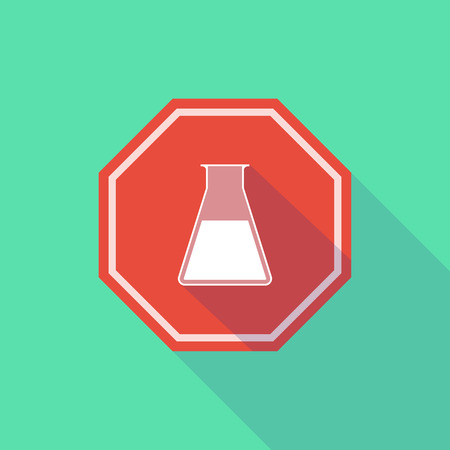 stop signal: Illustration of a long shadow stop signal with a chemical test tube