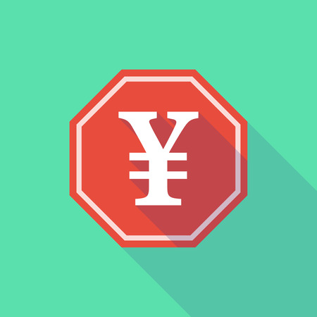 stop signal: Illustration of a long shadow stop signal with a yen sign