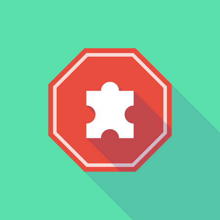 stop signal: Illustration of a long shadow stop signal with a puzzle piece Illustration