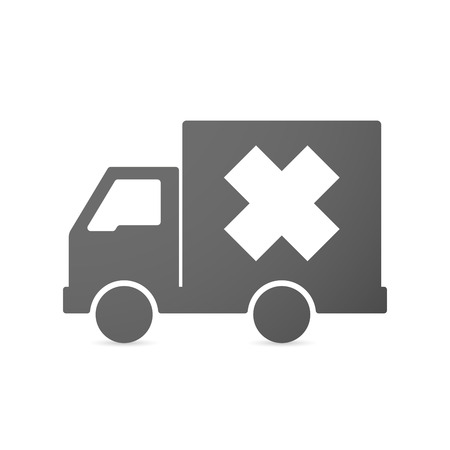 alerting: Illustration of an isolated delivery truck icon with an irritating substance sign