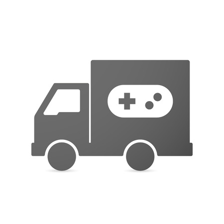 move controller: Illustration of an isolated delivery truck icon with a game pad