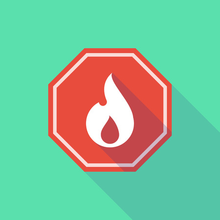 stop signal: Illustration of a long shadow stop signal with a flame Illustration