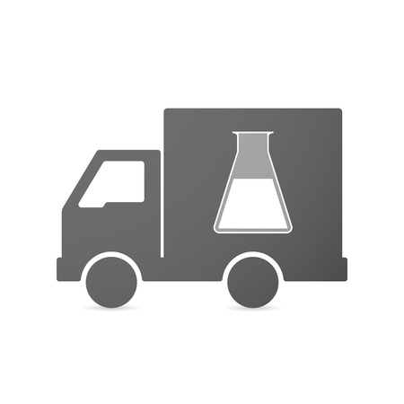 lab test: Illustration of an isolated delivery truck icon with a chemical test tube