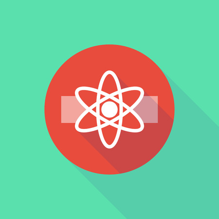 caution chemistry: Illustration of a long shadow do not enter icon with an atom