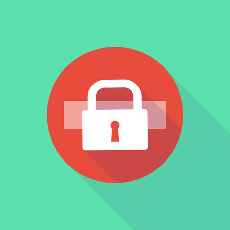 do not enter: Illustration of a long shadow do not enter icon with a lock pad Illustration