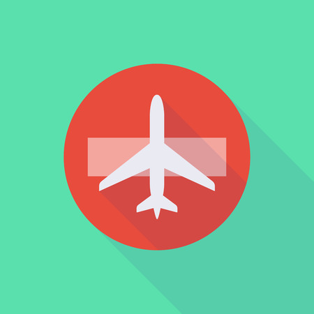 Illustration of a long shadow do not enter icon with a plane Ilustração