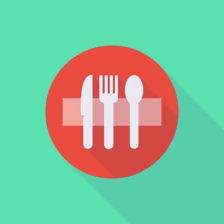 do: Illustration of a long shadow do not enter icon with cutlery