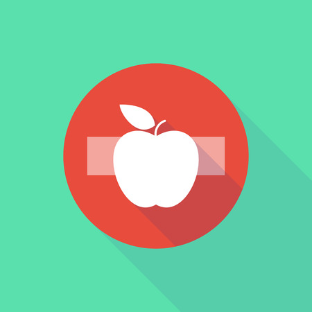 Illustration of a long shadow do not enter icon with an apple