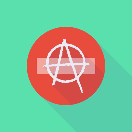 anarchy: Illustration of a long shadow do not enter icon with an anarchy sign