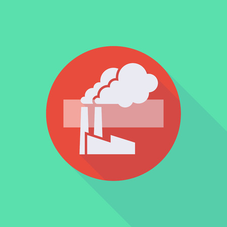 Illustration of a long shadow do not enter icon with a factory