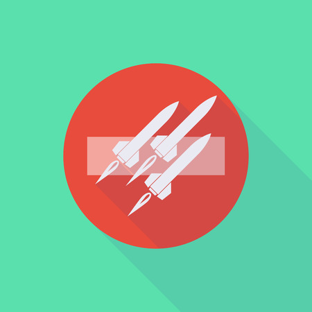 no nuclear: Illustration of a long shadow do not enter icon with missiles