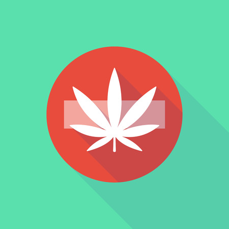 street drug: Illustration of a long shadow do not enter icon with a marijuana leaf