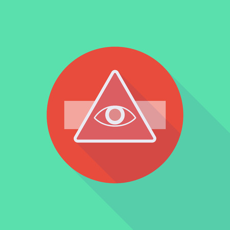 seeing: Illustration of a long shadow do not enter icon with an all seeing eye Illustration