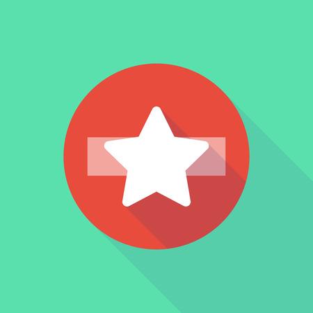 do not enter: Illustration of a long shadow do not enter icon with a star Illustration