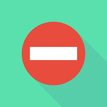 warning icon: Illustration of a long shadow do not enter icon with