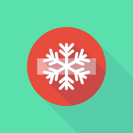 Illustration of a long shadow do not enter icon with a snow flake