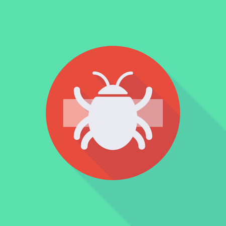 do not enter: Illustration of a long shadow do not enter icon with a bug Illustration