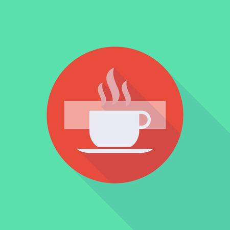 Illustratie van een lange schaduw komen niet in pictogram met een kopje koffie