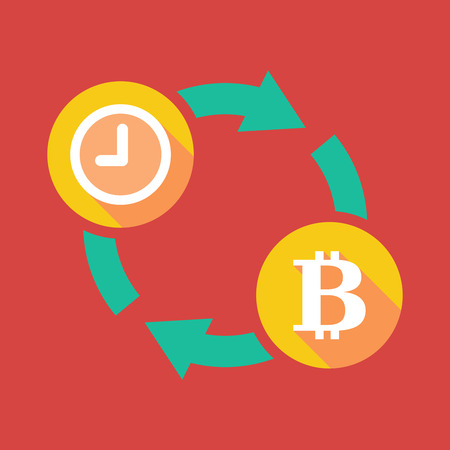 p2p: Illustration of an exchange sign with a clock and  a bit coin sign