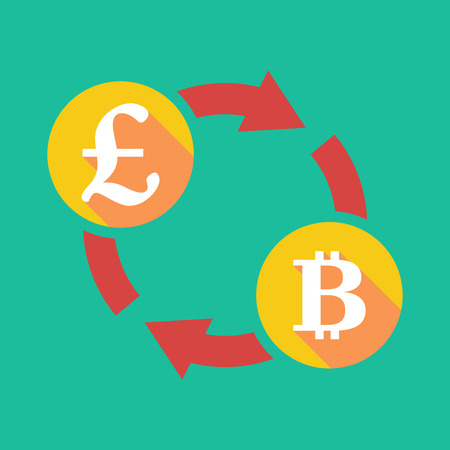 pound coin: Illustration of an exchange sign with a pound sign and a bit coin sign