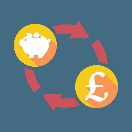 pound sign: Illustration of an exchange sign with a piggy bank and a pound sign