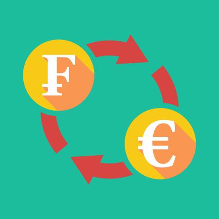 swiss franc: Illustration of an exchange sign with a swiss franc sign and an euro sign Illustration