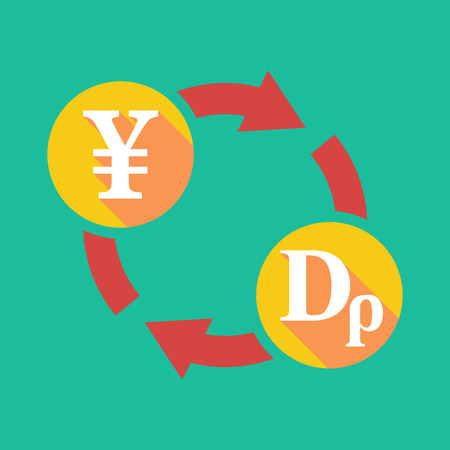 yen sign: Illustration of an exchange sign with a yen sign and a drachma sign Illustration