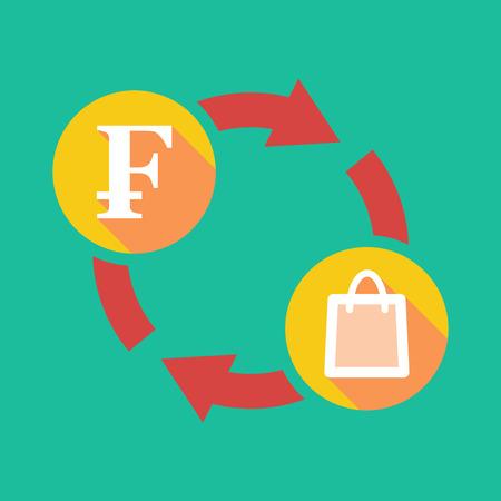 swiss franc: Illustration of an exchange sign with a swiss franc sign and a shopping bag Illustration