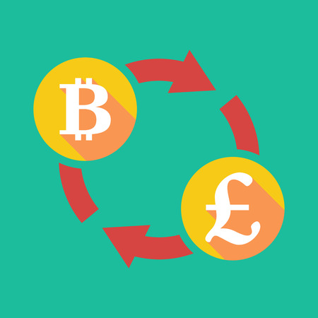 p2p: Illustration of an exchange sign with a bit coin sign and a pound sign Illustration