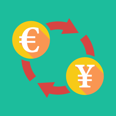 yen sign: Illustration of an exchange sign with an euro sign and a yen sign