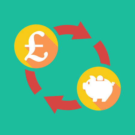 pound sign: Illustration of an exchange sign with a pound sign and a piggy bank Illustration