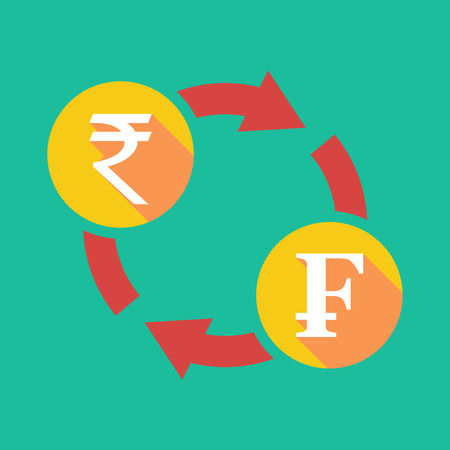 franc: Illustration of an exchange sign with a rupee sign and a swiss franc sign