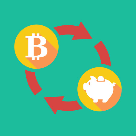 p2p: Illustration of an exchange sign with a bit coin sign and a piggy bank Illustration