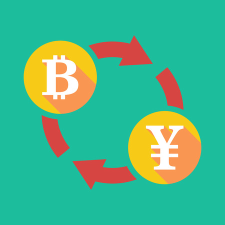yen sign: Illustration of an exchange sign with a bit coin sign and a yen sign