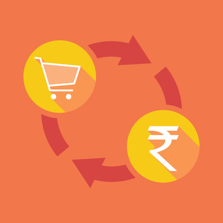 rupee: Illustration of an exchange sign with a shopping cart and a rupee sign Illustration