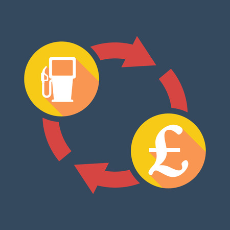 pound sign: Illustration of an exchange sign with a gas pump and  a pound sign