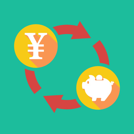 yen sign: Illustration of an exchange sign with a yen sign and a piggy bank