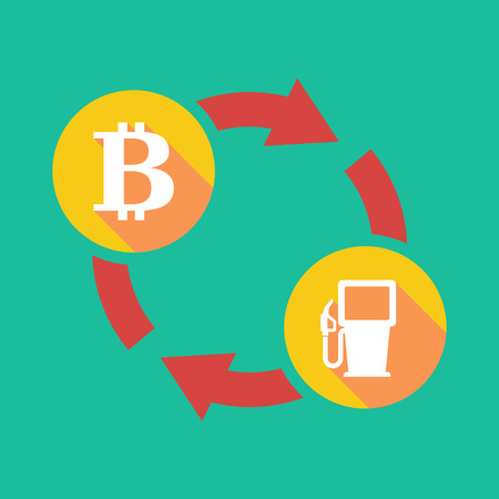 p2p: Illustration of an exchange sign with a bit coin sign and a gas station Illustration