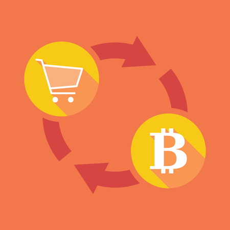 bank cart: Illustration of an exchange sign with a shopping cart and a bit coin sign