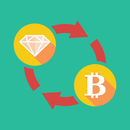 p2p: Illustration of an exchange sign with a diamond and  a bit coin sign