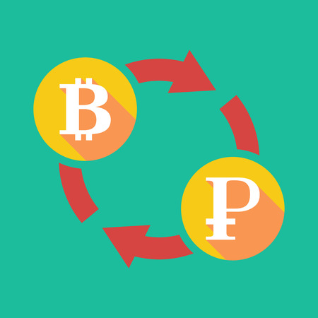 p2p: Illustration of an exchange sign with a bit coin sign and a ruble sign