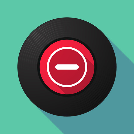 subtraction: Illustration of a long shadow vinyl record with a subtraction sign