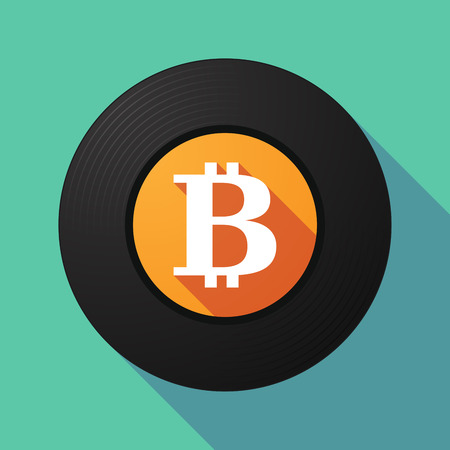 p2p: Illustration of a long shadow vinyl record with a bit coin sign