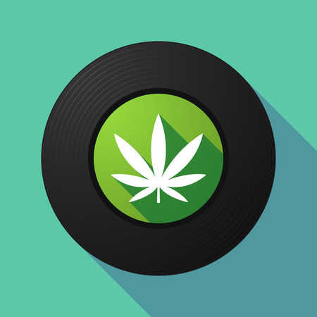 marihuana: Illustration of a long shadow vinyl record with a marijuana leaf Vettoriali
