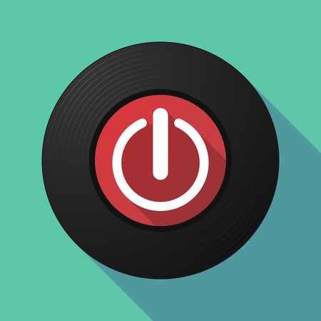 on off button: Illustration of a long shadow vinyl record with an off button