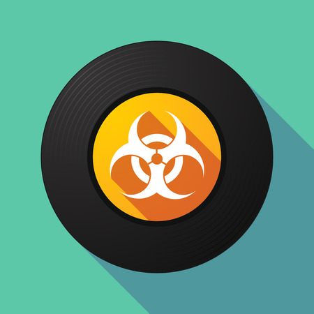 play poison: Illustration of a long shadow vinyl record with a biohazard sign
