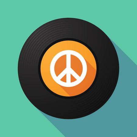 peace sign: Illustration of a long shadow vinyl record with a peace sign